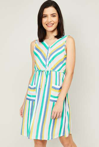 FAME FOREVER Women Striped A-Line Dress