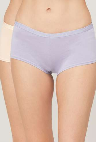 AMANTE Women Solid Boy Shorts - Set of 2