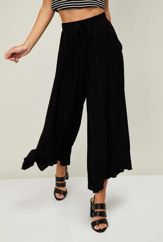 CODE Women Solid Flared Palazzos