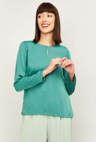AND Women Solid Full Sleeves Top