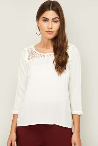 FAME FOREVER Women Lace Detail Three-quarter Sleeves Top