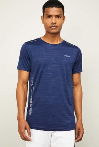 KAPPA Men Textured Regular Fit Crew Neck T-shirt
