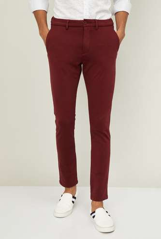 CELIO Men Solid Slim Straight Casual Trousers