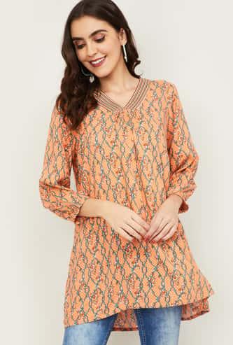 GLOBAL DESI Women Printed Three-Quarter Sleeves Tunic