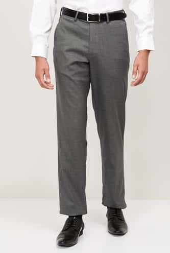 VAN HEUSEN Men Solid Regular Fit Trousers