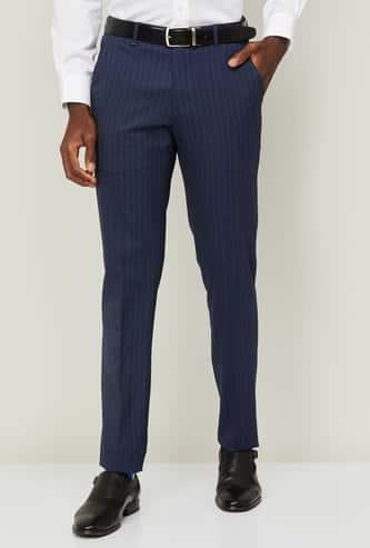 VAN HEUSEN Men Striped Super Slim Formal Trousers