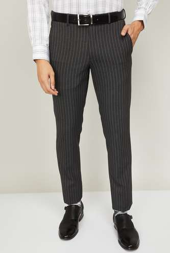 VAN HEUSEN Men Striped Super Slim Fit Formal Trousers