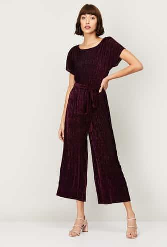 CODE Women Corduroy Crop-length Jumpsuit