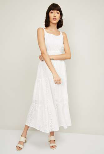 CODE Women Schiffli Embroidered Tiered Maxi Dress