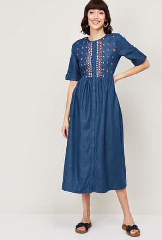 COLOUR ME Indie Denim Women Embroidered Short Sleeves Denim Dress
