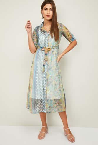 COLOUR ME Women Printed Midi Dress
