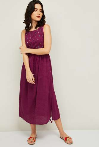 COLOUR ME Women Embroidered A-line Dress