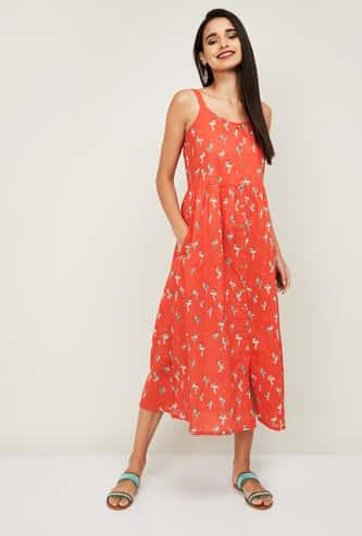 COLOUR ME Women Printed Sleeveless A-Line Dress