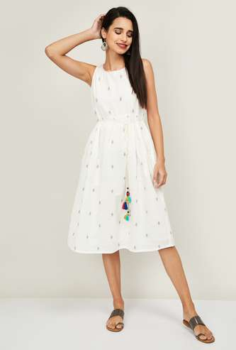 COLOUR ME Women Embroidered Ethnic A-Line Dress