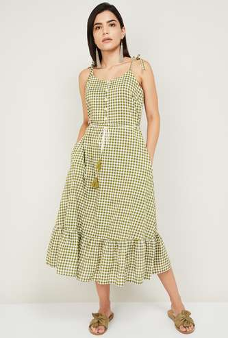 COLOUR ME Women Checked A-Line Dress with Strappy Sleeves