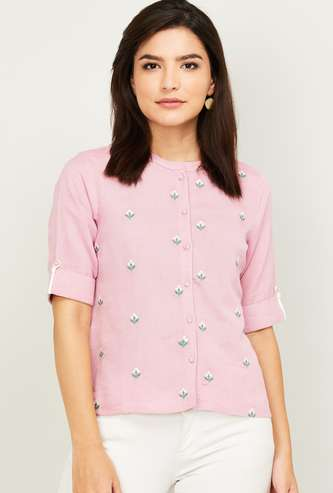 COLOUR ME Women Shirt with Floral Embroidery