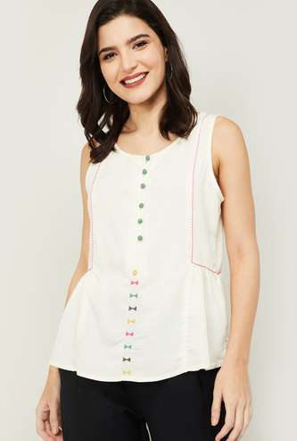 COLOUR ME Women Embroidered Sleeveless Ethnic Top