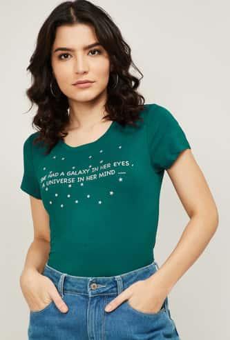 FAME FOREVER Women Printed Crew Neck T-shirt