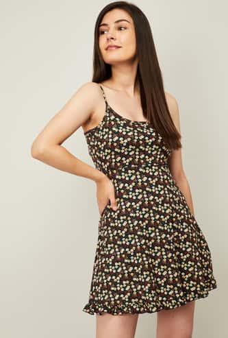 GINGER Women Floral Print Skater Dress