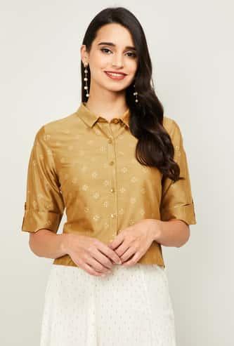 MELANGE Women Printed Short Sleeves Top