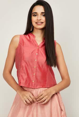 MELANGE Women Embroidered Sleeveless Top