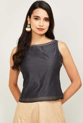 MELANGE Women Textured Sleeveless Ethnic Top
