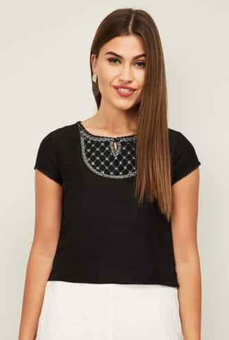 MELANGE Women Embroidered Short Sleeves Top