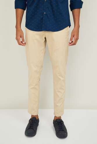 LP SPORT Men Solid Slim Tapered Casual Trousers