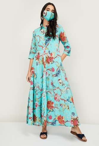 BIBA Women Floral Printed Ethnic A-Line Maxi Dress with Mask