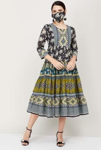 BIBA Women Floral Print A-Line Ethnic Midi Dress with Mask
