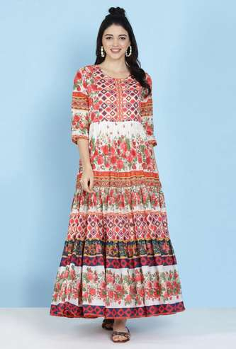 BIBA Women Floral Print Three-Quarter Sleeves Maxi Dress