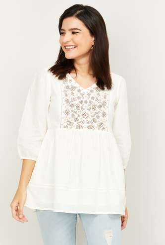 COLOR ME Women Solid Top with Embroidery