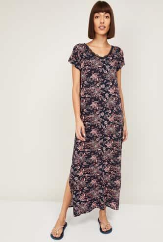 GINGER Women Printed Side Slit Night Dress