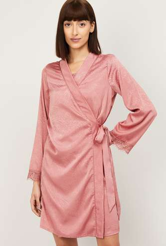 GINGER Women Printed Robe with Lace Trim