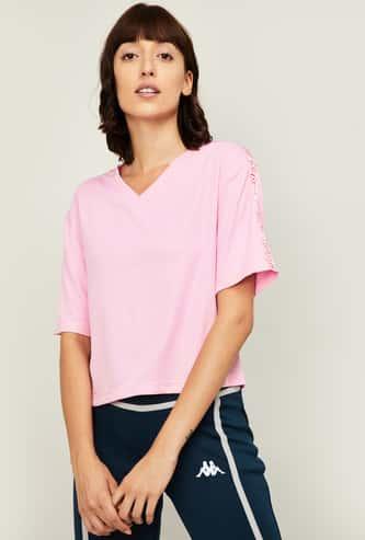 KAPPA Women Solid V-neck T-shirt