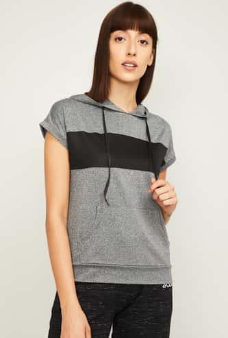 KAPPA Women Colourblocked Hooded T-Shirt