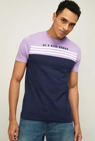 BOSSINI Men Colourblocked Crew-Neck T-Shirt
