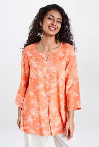 GLOBAL DESI Women Floral Print Three-quarter Sleeves Tunic