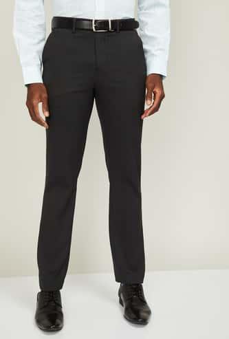 CODE Men Striped Slim Straight Formal Trousers