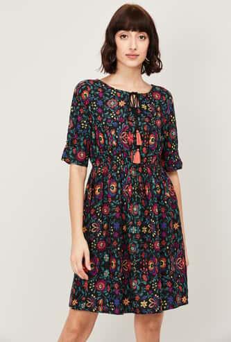 COLOUR ME Women Floral Print A-Line Dress
