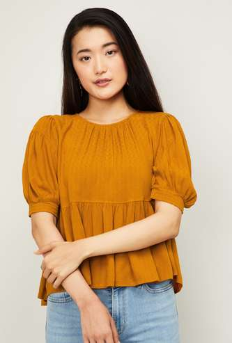 ONLY Women Solid Puffed Sleeves Top