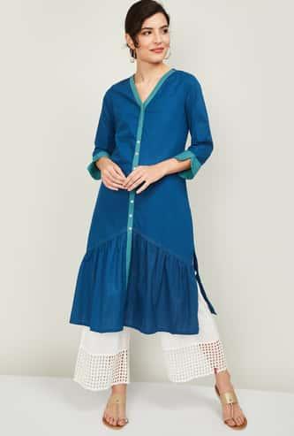 GLOBAL DESI Women Solid Three-quarter Sleeves Straight Kurta