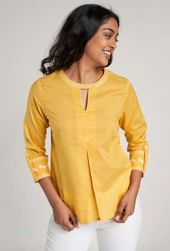 GLOBAL DESI Women Embroidered Top