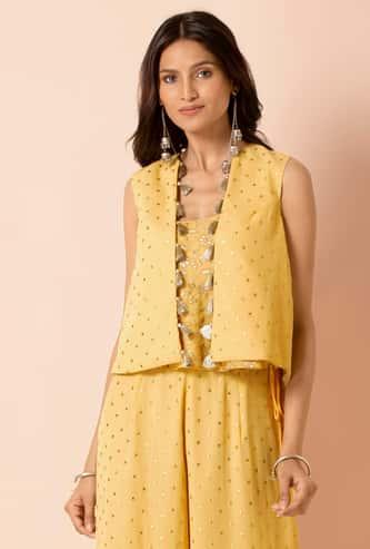 INDYA Women Embellished Open-Front Tasseled Shrug