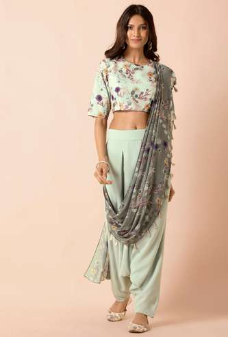 INDYA Women Solid Patiala Pants with Attached Dupatta