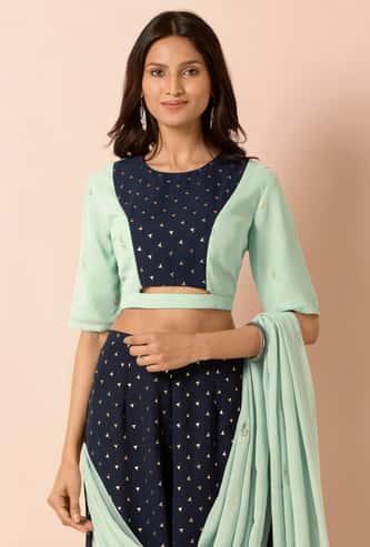 INDYA Women Foil Panelled Crop Top