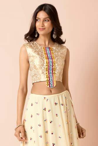 INDYA Women Brocade Blouse with Mirrorwork