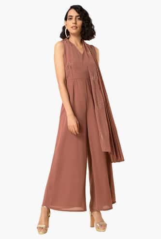 INDYA Women Foil Print Jumpsuit with Side Stole