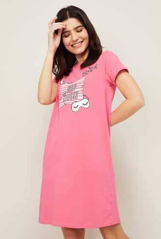GINGER Women Printed Short Sleeves T-Shirt Lounge Dress