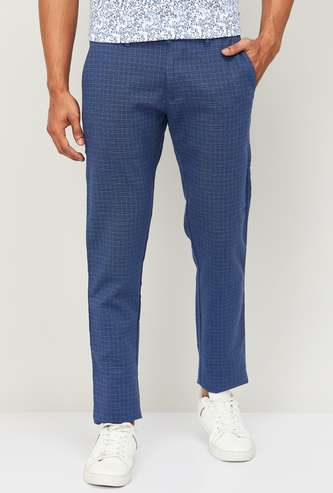 LP SPORT Men Checked Slim Straight Casual Trousers
